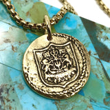 Bbeni alpha omega Greek Christian coin necklace
