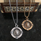 Lion coin in holder necklace