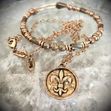 B.BéNI jewelry fleur de lis coin necklace and beaded bracelet