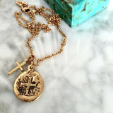 Ancient Gold Cross Coin And Cross Necklace - New!