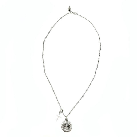 Ancient Silver Cross Coin and Cross Necklace