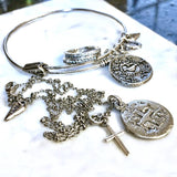 Ancient Silver Cross Coin And Cross Necklace - New!