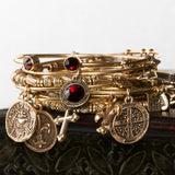 bbeni Christian gold garnet cross charm expandable bracelet stack