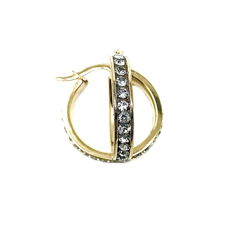 Sterling Silver Channel Set CZ Small Hoop Earrings