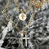 14k gold plated crystal cross necklace