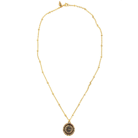 Compass Coin on Beaded Chain Necklace