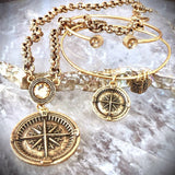 bbeni Christian gold compass charm expandable bracelet and necklace