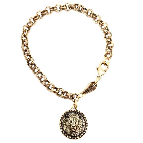Intrépide Lion Coin Heavy Chain Bracelet