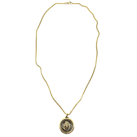 Old Roman Head Gold Coin and Cross Necklace