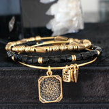 bbeni gold lotus flower adjustable expandable charm bracelet and beaded bracelets