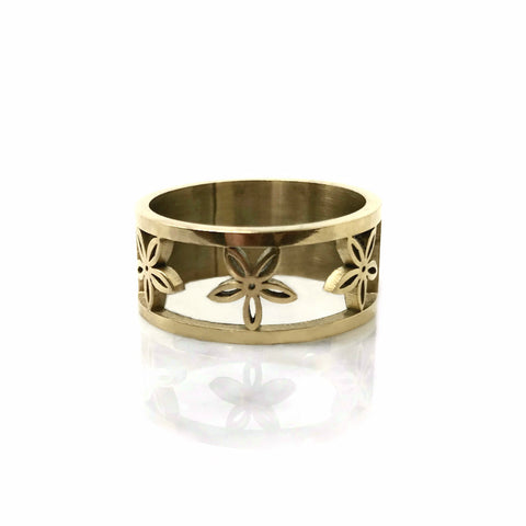 New! Stainless Flower Band Ring
