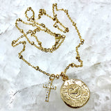 Gold cz diamond cross and coin necklace