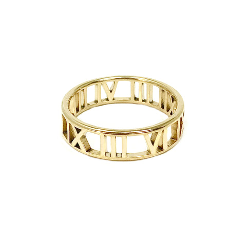New! Stainless Roman Numeral Band Ring