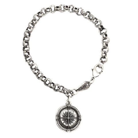 Guide Me Compass Coin Heavy Chain Bracelet