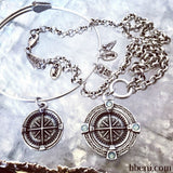 bbeni Christian silver compass charm expandable bracelet and necklace