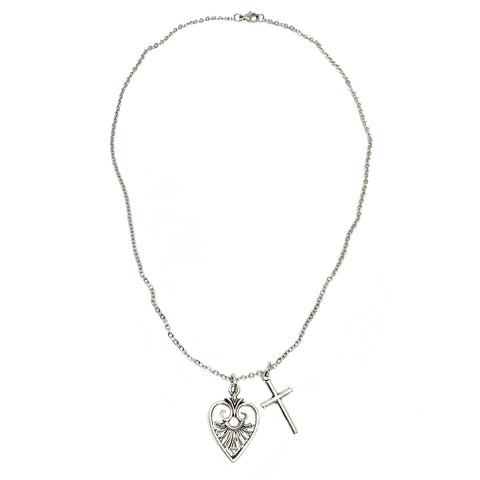 God is Love Victorian Heart and Cross Necklace