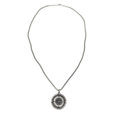 Large Compass Coin Necklace