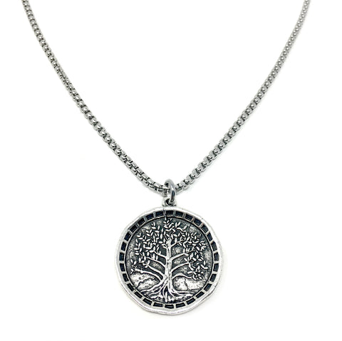 NEW! Large Tree of Life Coin Necklace For Men
