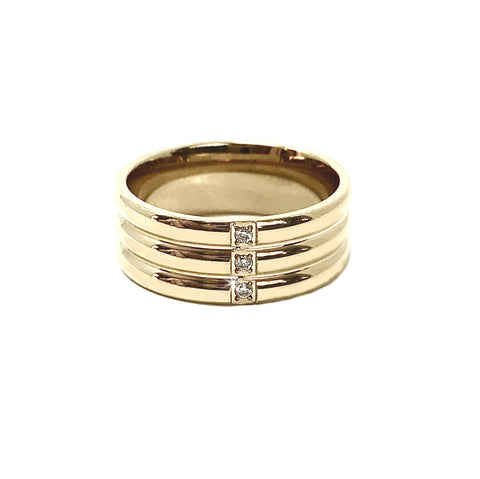 New! Trinity Crystal 14K Stainless Steel Ring