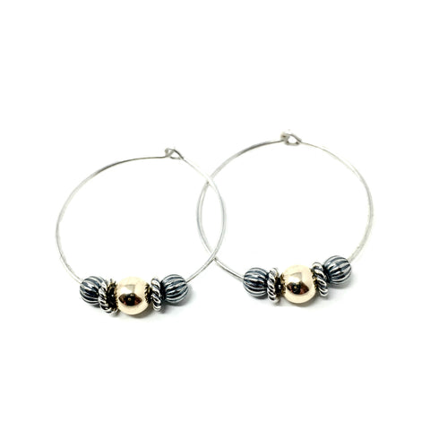 New! Rose Gold & Sterling Silver Beaded Hoop Earrings