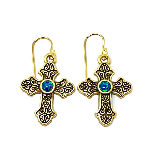 Pave Crystal Starburst Dangle Earrings in Gold