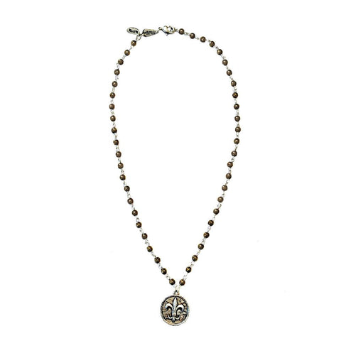 Fleur-de-Lis Coin Beaded Necklace