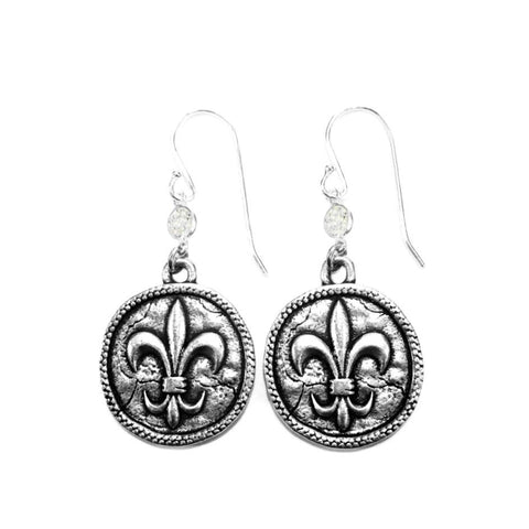 Fleur-de-Lis Coin Earrings