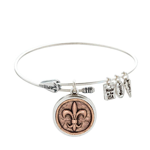 Fleur-de-Lis Coin Two Tone Bangle