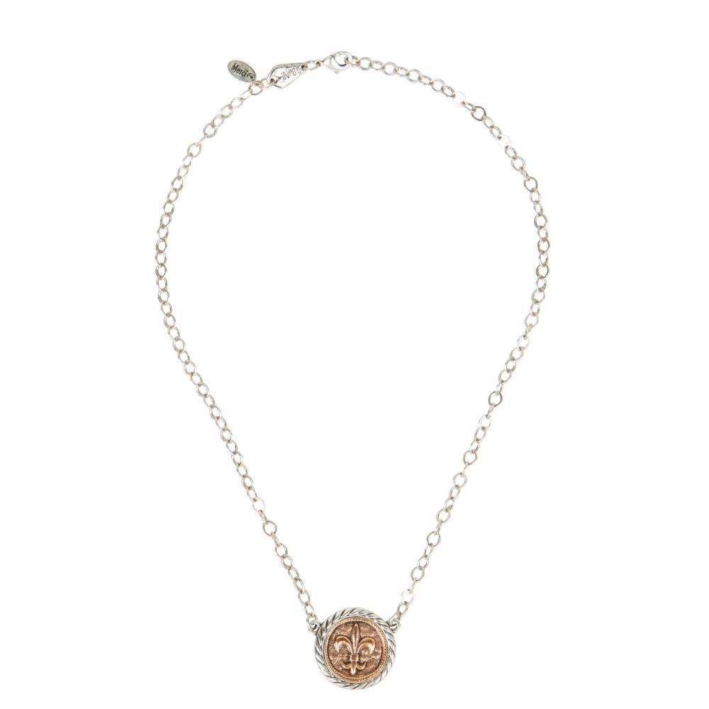 Fleur de lis two tone rose gold coin in silver holder pendant fleur de lis rose gold coin in holder necklace aloadofball