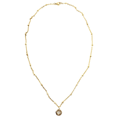Dainty Gold Crystal Cross Pendant on Sparkle Chain Necklace