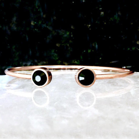 Silver Night Crystal & Rose Gold Cuff Bracelet
