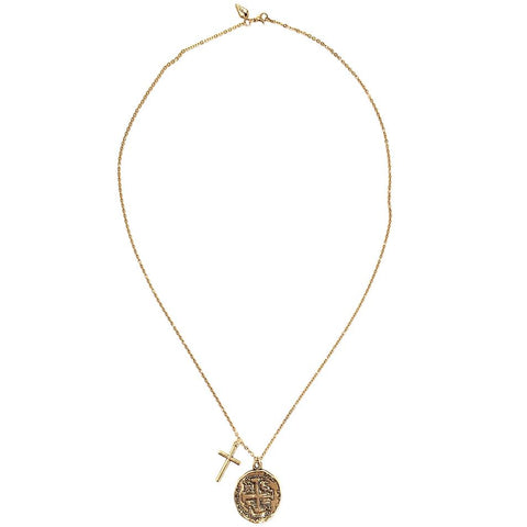 Old Spanish Gold Coin and Cross Necklace