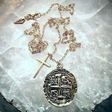 Old Spanish Gold Coin And Cross Necklace - New!