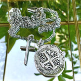 Old Spanish Silver Coin And Cross Necklace - New!