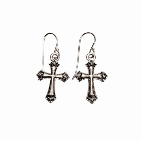 Pave Crystal North Star Dangle Earrings in Platinum