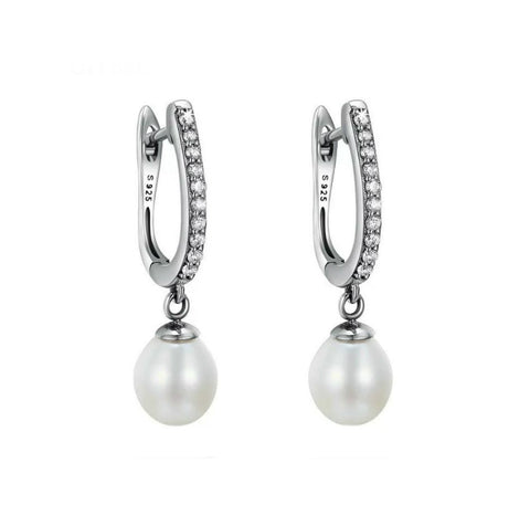 Sterling Silver Crystal Huggie Pearl Drop Earrings