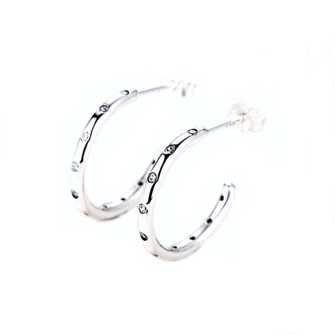 Sterling Silver CZ Crystal Small Hoop Earrings