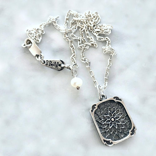 Sterling Silver Inspirational Lotus Flower Handcrafted Necklace
