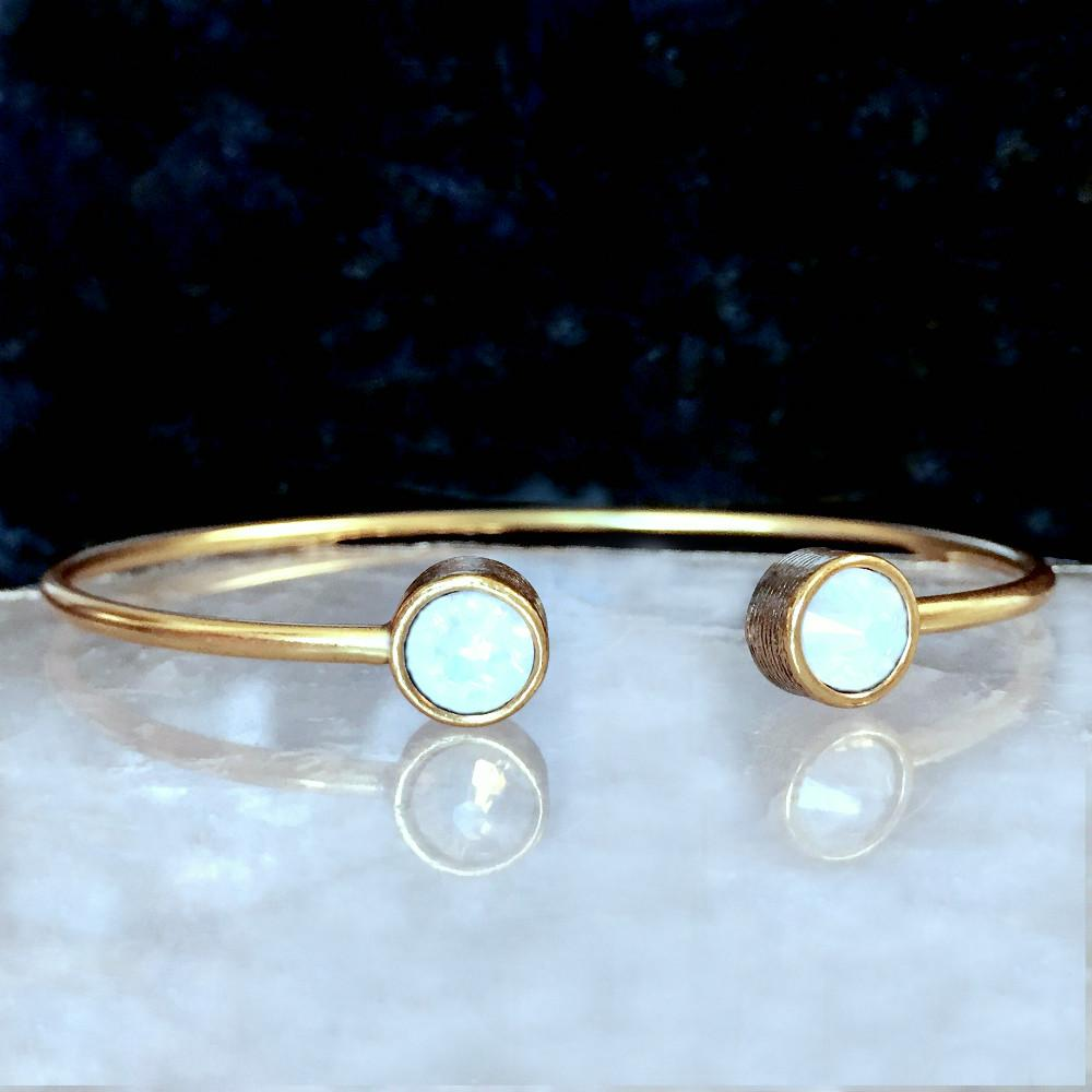 gold opal white bracelet for gift pin her bracelets birthstone personalized october