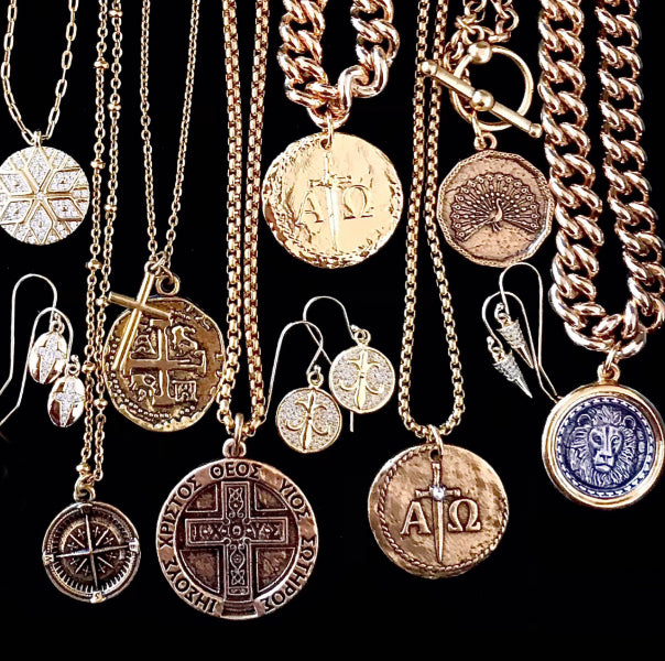bbeni christian cross coin necklaces