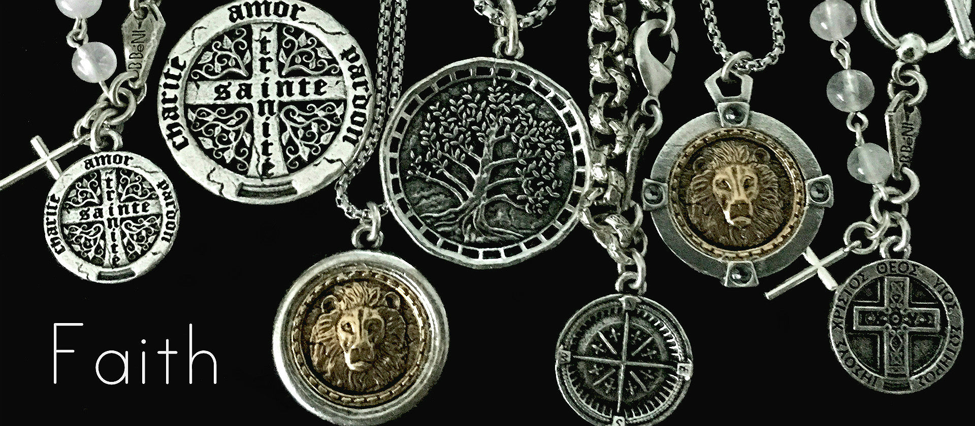 Bbeni silver Christian Faith necklaces