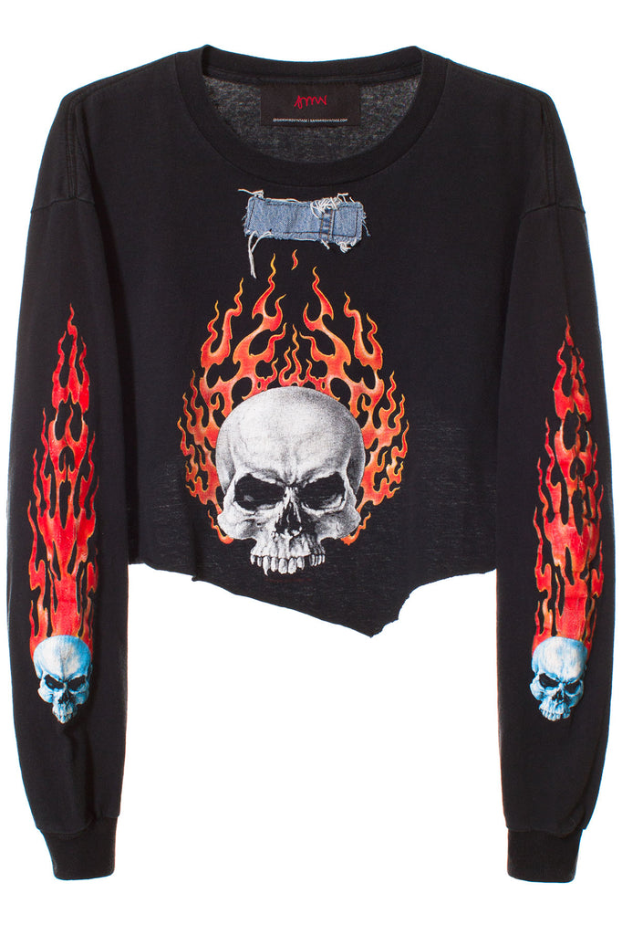 SKULL FLAME LS CROPPED TEE