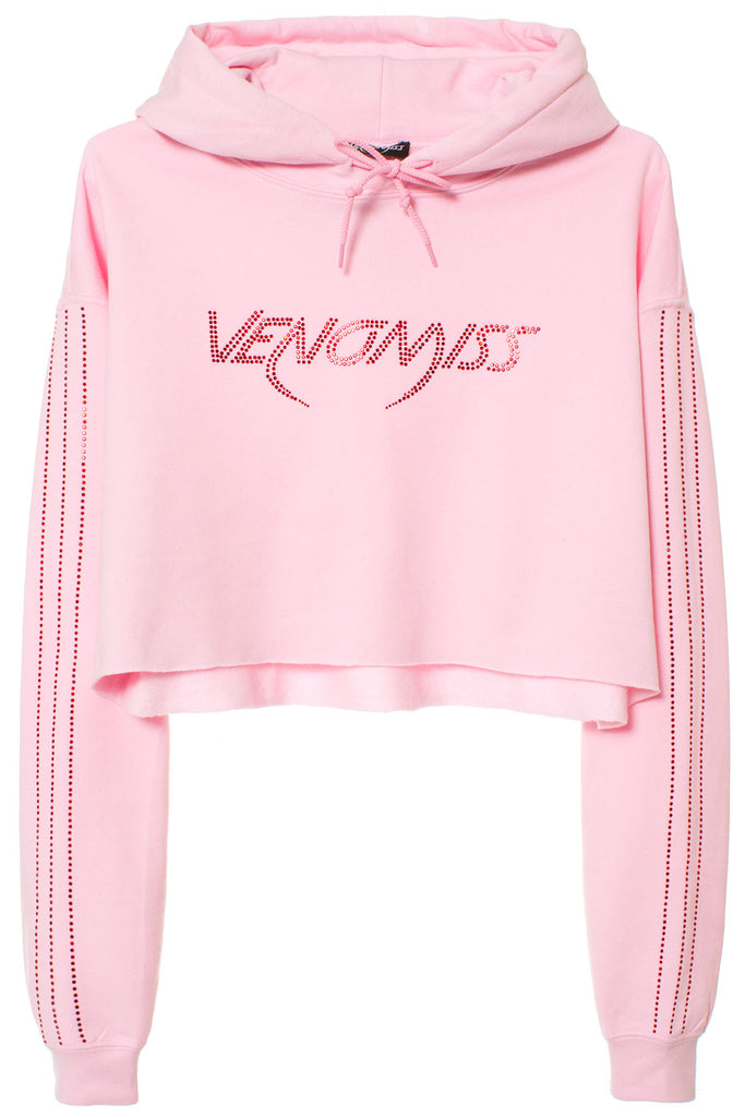 DUAL TONE CROP HOODIE W/CRYSTAL SLEEVE STRIPE | BABY PINK W/RED CRYSTALS