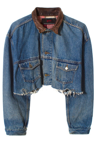 DENIM & LEATHER CROPPED JACKET