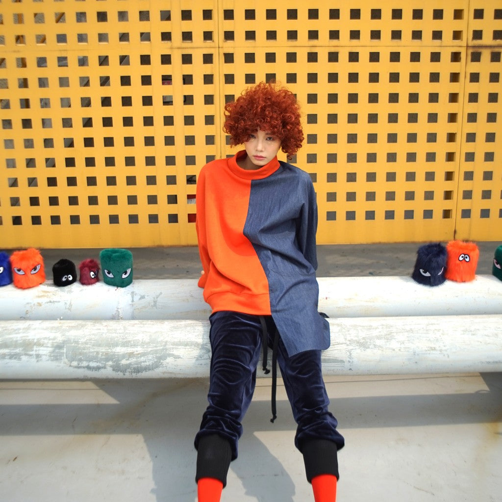 Half & Half Sweat shirt_ORANGE