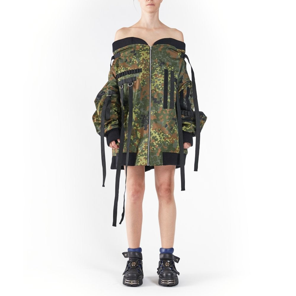 DROP SHOULDER BOMBER GREEN CAMO