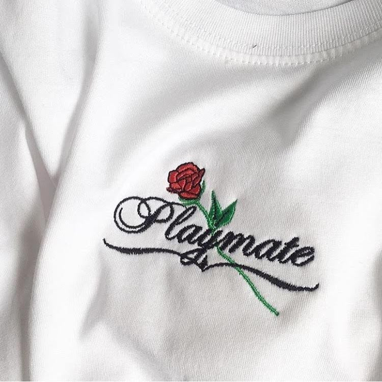 Embroidered Playmate t-shirt - White