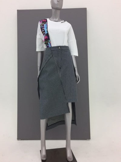 Unbalanced denim skirt_STRIPE