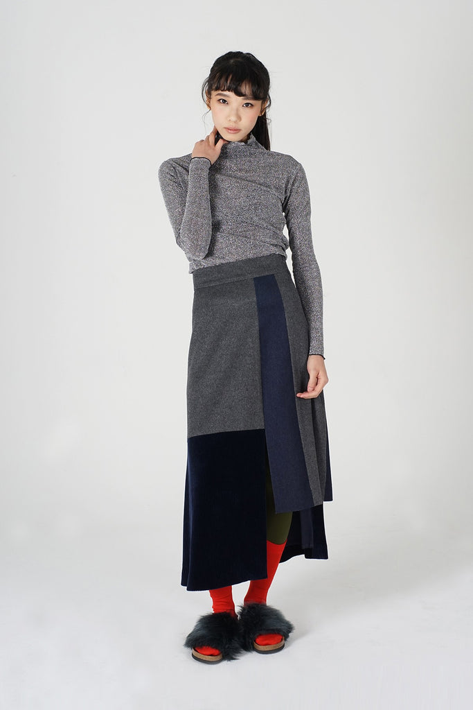 Patchwork midi-skirt_GREY