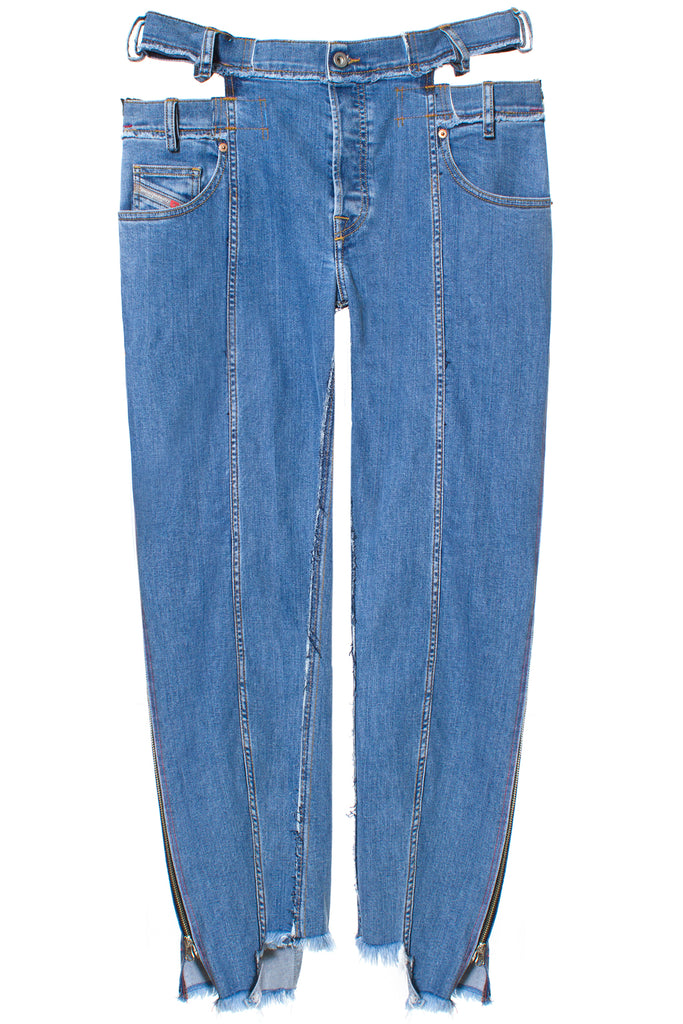 DOUBLE FRONT SIDE SEAM ZIP JEANS